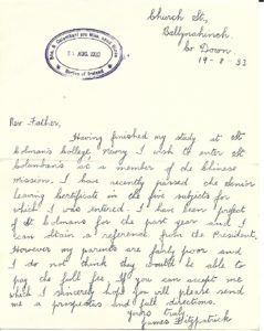 Fr James Fitzpatrick's letter to Fr John Blowick.